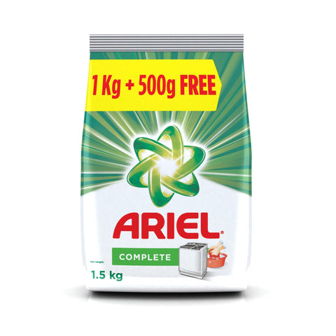 Ariel Complete Detergent Washing Powder - 1 kg with Free Detergent Washing Powder - 500 g