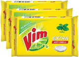 Vim Extra Anti Smell with Pudina Dishwash Bar(600 g, Pack of 3)