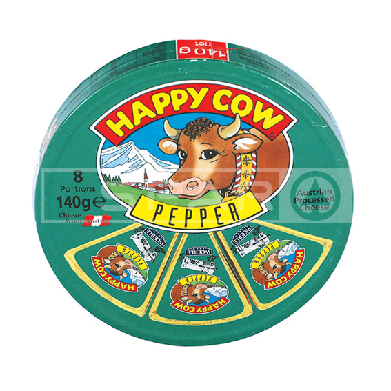 HAPPY COW Cheese, Pepper, Round Box, 140g