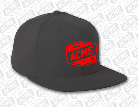 ACME - Red on Black Embroidered Hat