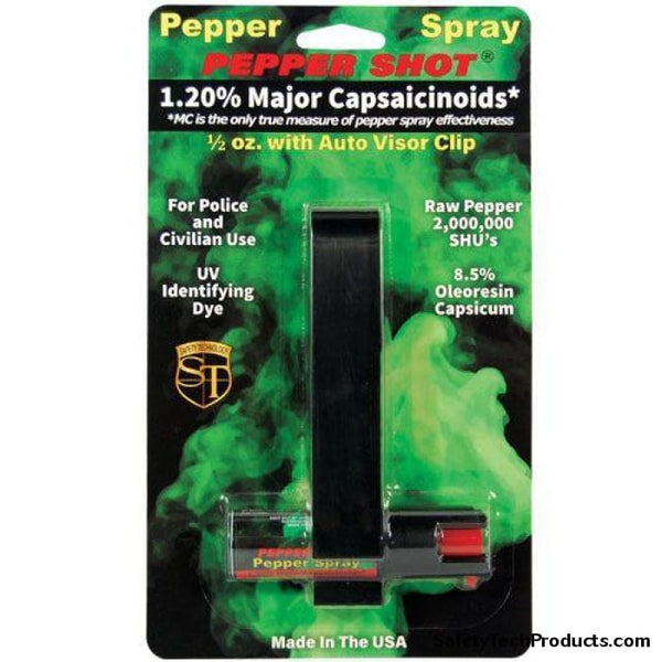 1/2 oz w/Auto Visor Clip Pepper Spray - Safety Tech Security Products