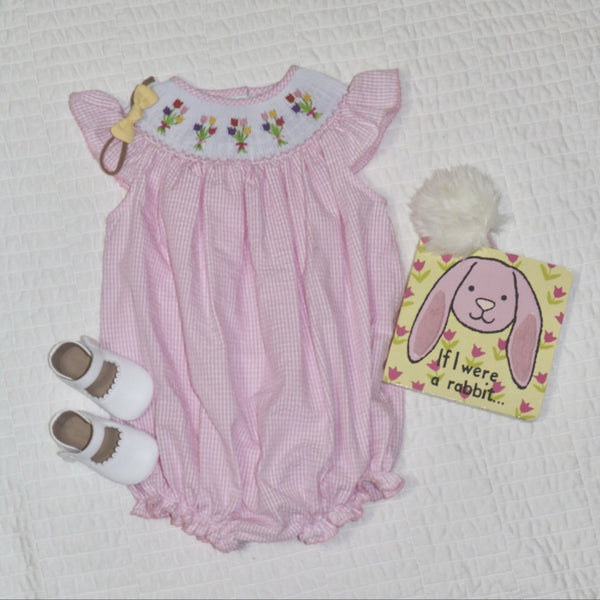 smocked tulips bishop dress, bubble
