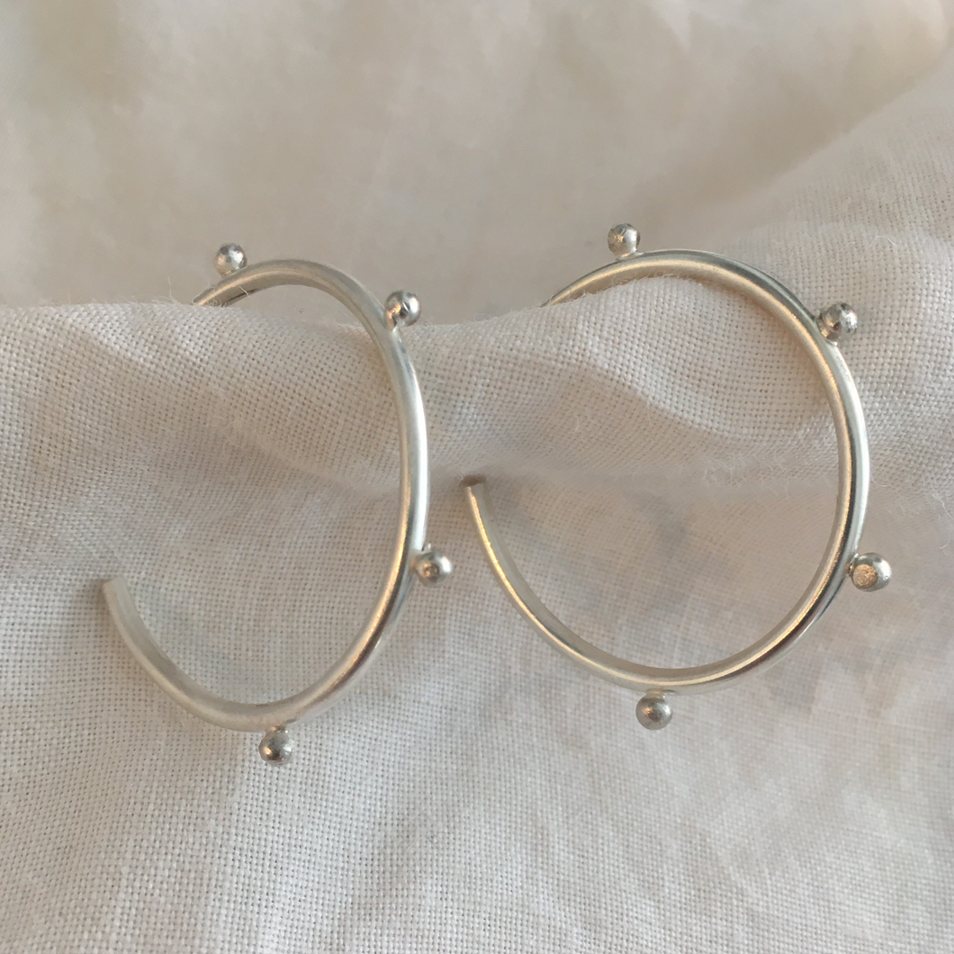 hand made studded silver hoop earrings