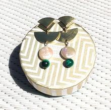 Load image into Gallery viewer, Hand Made Earrings made with Brass, Malachite and Fresh Water Pearl