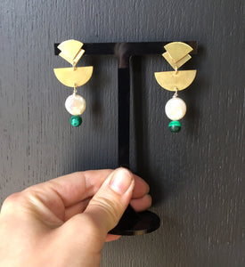 Hand Made Earrings made with Brass, Malachite and Fresh Water Pearl
