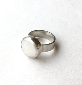 Chunky Silver Fresh Water Pearl Ring