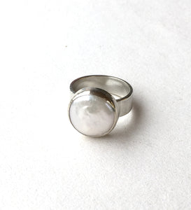 Hand made fresh water pearl and eco silver ring