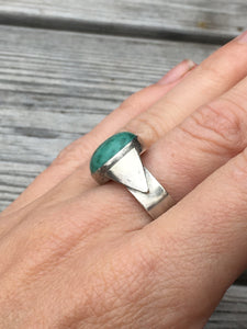 Oxidised Triangle Turquoise ring
