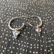 Load image into Gallery viewer, Moonstone Charm Hoops