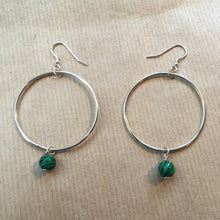 Load image into Gallery viewer, Eco Silver & Malachite Hoops