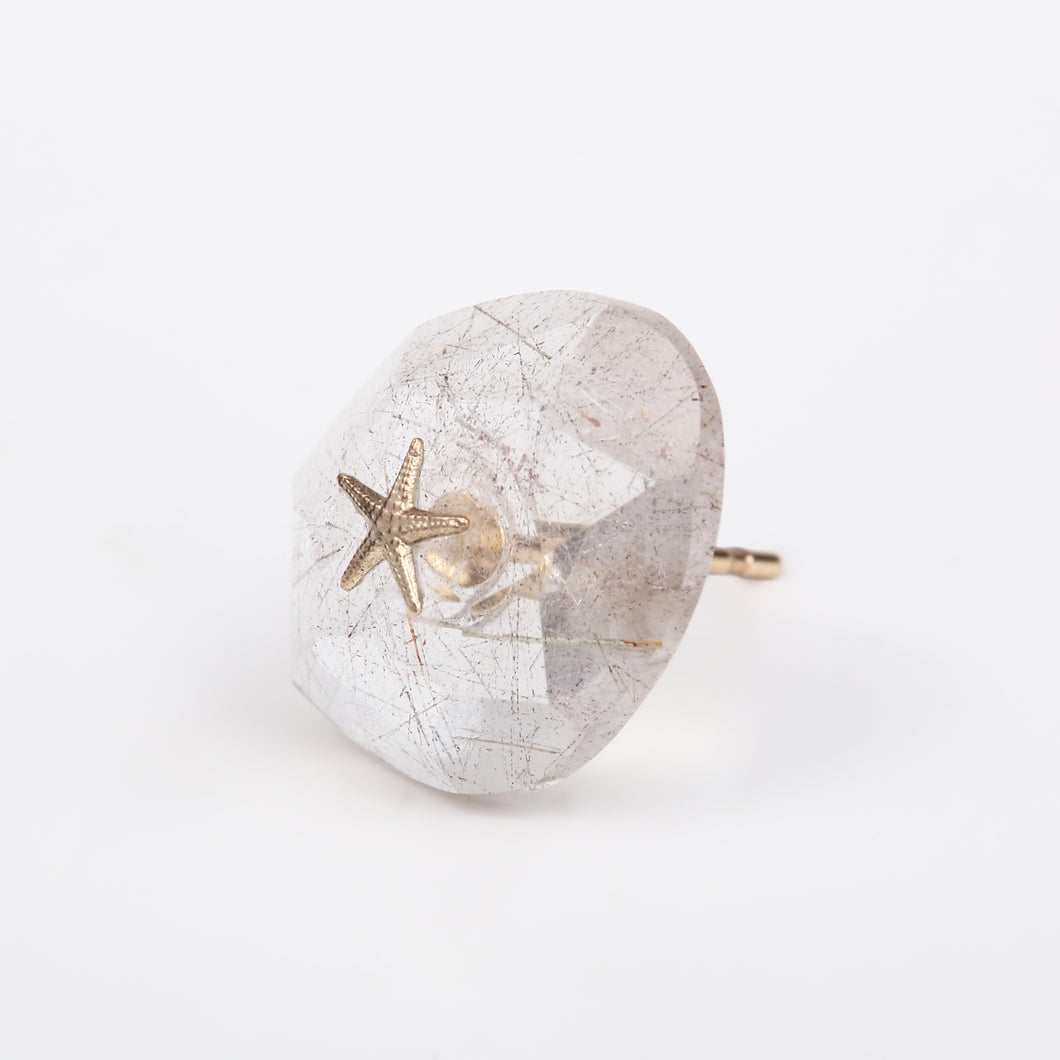 rose studs pierce/silver rutile
