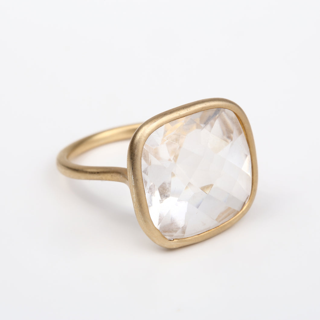rose square ring/crystal