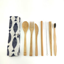 Load image into Gallery viewer, Travel Bamboo Cutlery Set and Utensils