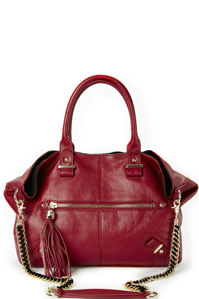 Isabella Satchel in Cranberry and Black