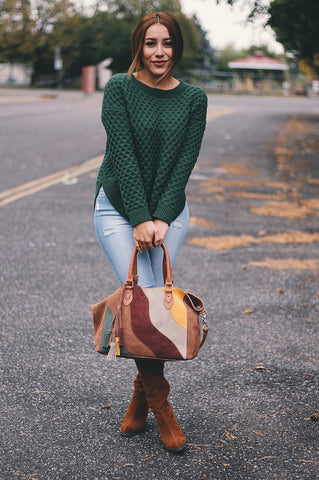 ANNA Patchwork Tote in Walnut/Brown Multi