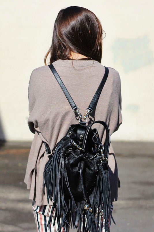 Amber Convertible Backpack in Black