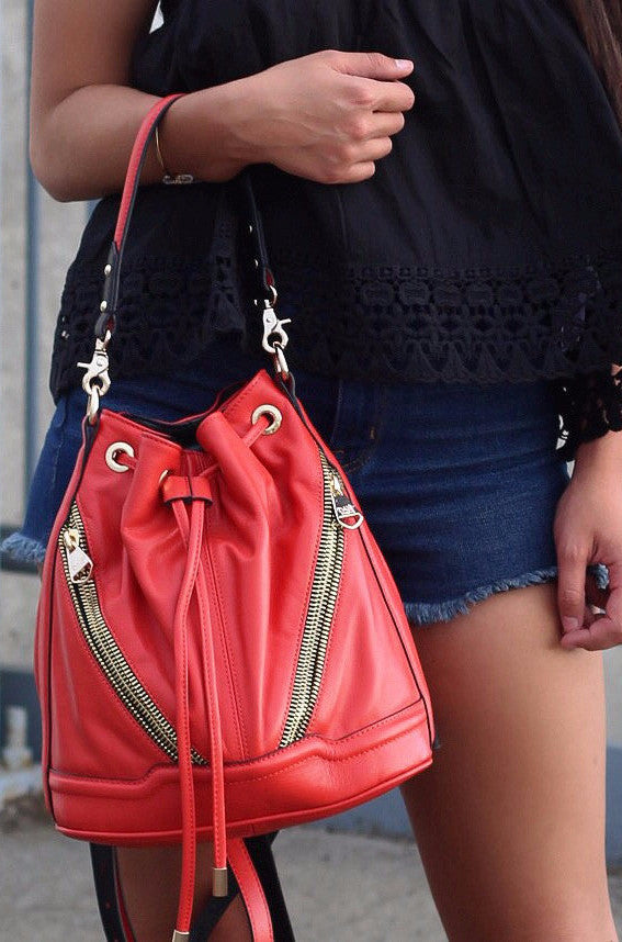 Lottie Convertible Backpack in Red/Coral