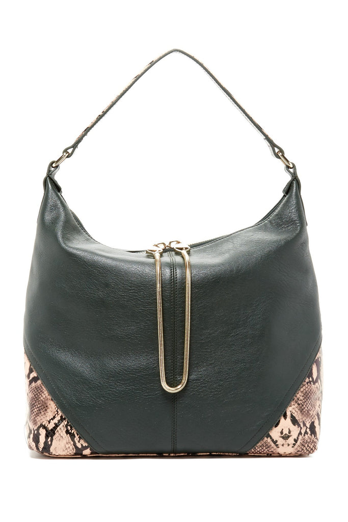 Leo Snake Leather Hobo | Evergreen