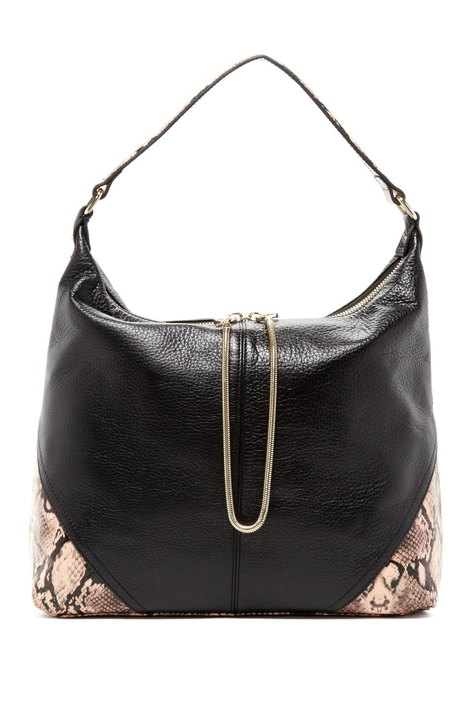 Leo Snake Leather Hobo | Black