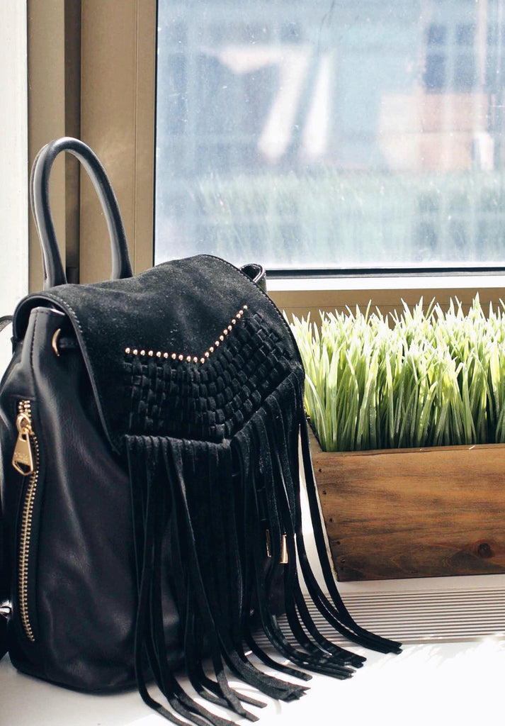 MARLOWE Fringe Backpack | Black