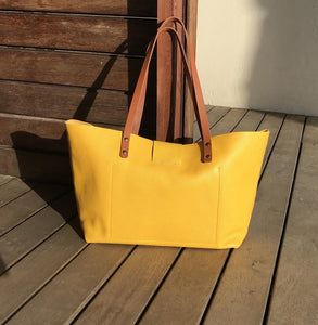 Leather Tote Bag Smooth Full Grain Leather Totebag SUN