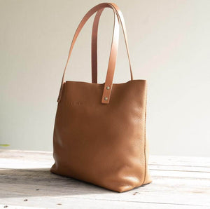 Leather Tote Bag  Smooth Full Grain Leather Tote Bag Cloud