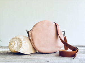 Leather Crossbody bag / Round Leather bag. Pam