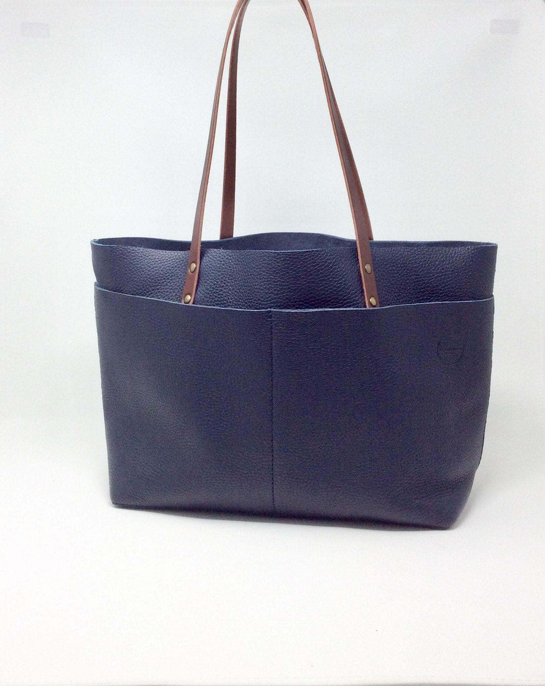 Dark Blue Leather Tote bag - Bol