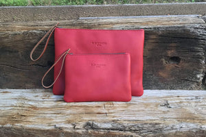 Leather Clutch Bag - Size L