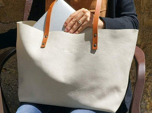 Leather tote bag handmade Ter