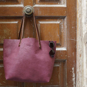 Leather Tote Bag - Smooth Full Grain Leather Totebag Gift  - BEL