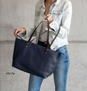 Leather Tote Bag Smooth Full Grain Leather Totebag Ter