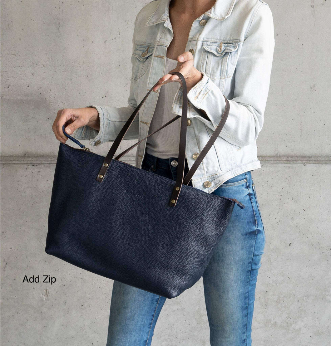 Leather Tote Bag Smooth Full Grain Leather Totebag Gift Ter