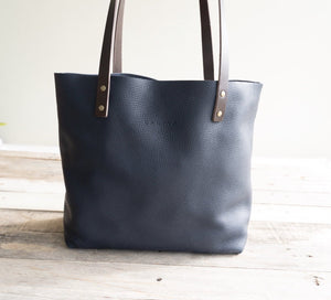 Leather Tote bag Handmade Leather Purse leather bag. Blue Leather Bag, Cloud