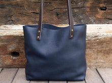 Load image into Gallery viewer, Leather Tote bag Handmade Leather Purse leather bag. Blue Leather Bag, Cloud