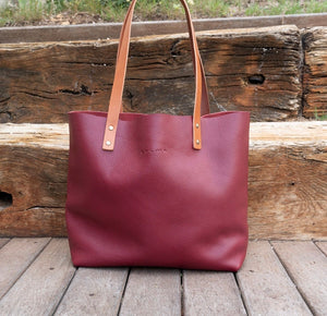 Leather Tote Bag Smooth Full Grain Leather Totebag Cloud