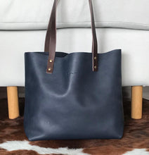 Load image into Gallery viewer, Dark BlueLeather Tote bag. Natural Leather Bag.Handmade. Cloud