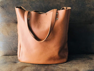 Leather Tote Bag Smooth Full Grain Leather Totebag MAR