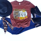 {H. Maroon} Happy Fall Leopard+Buffalo Check Tee