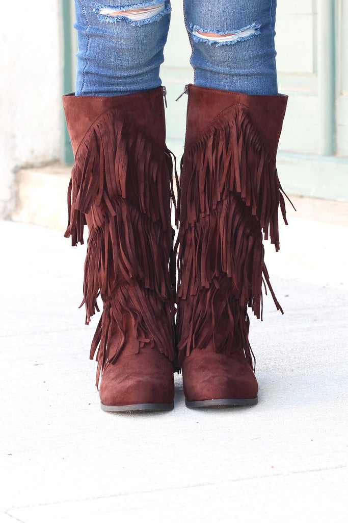 City Girl Layered Fringe Riding Boots {Brown} - The Fair Lady Boutique - 3