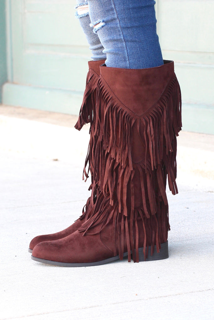 City Girl Layered Fringe Riding Boots {Brown} - The Fair Lady Boutique - 1