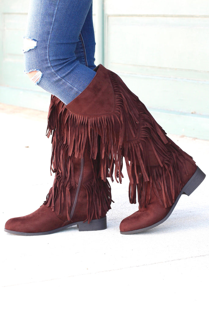 City Girl Layered Fringe Riding Boots {Brown} - The Fair Lady Boutique - 2
