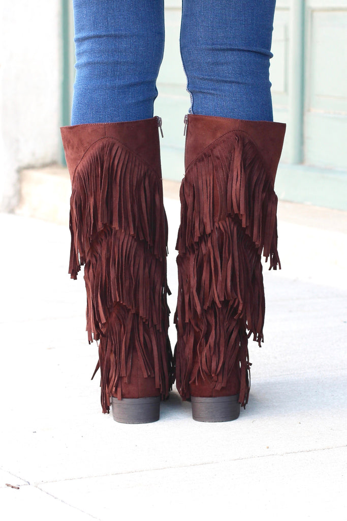 City Girl Layered Fringe Riding Boots {Brown} - The Fair Lady Boutique - 4