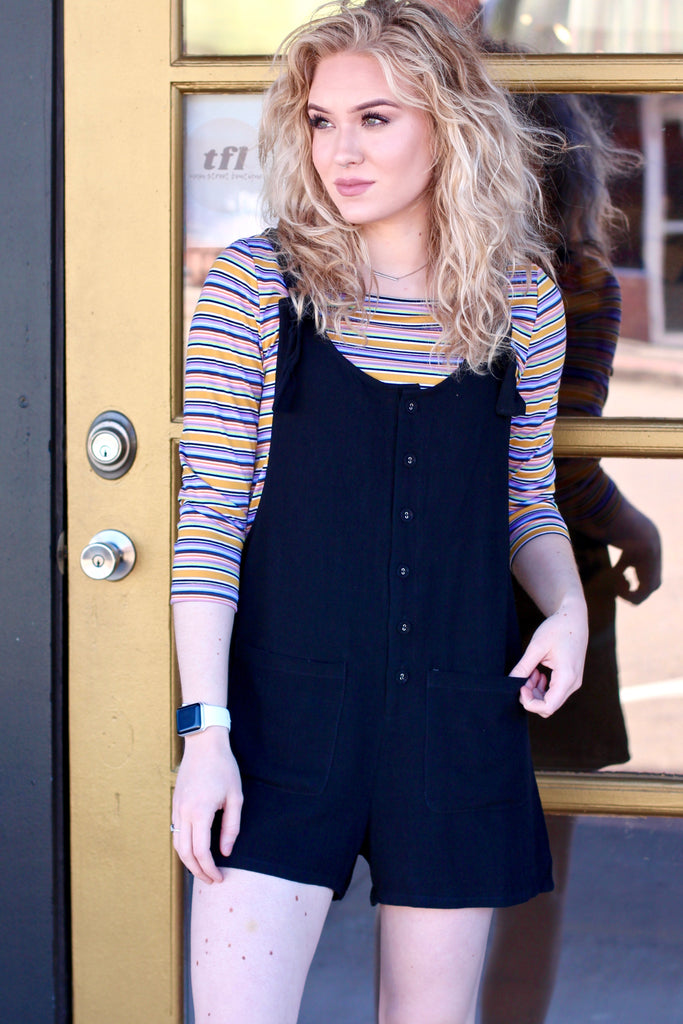 Blaire 3/4 Sleeve Stripes {Mustard}
