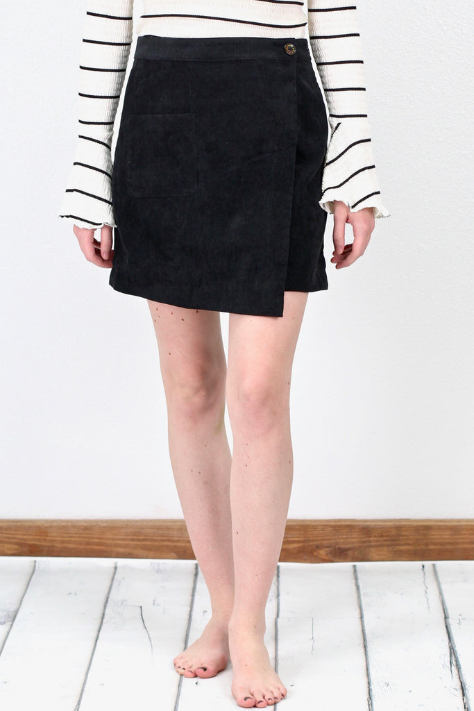 Asymmetrical Corduroy Skirt {Black}