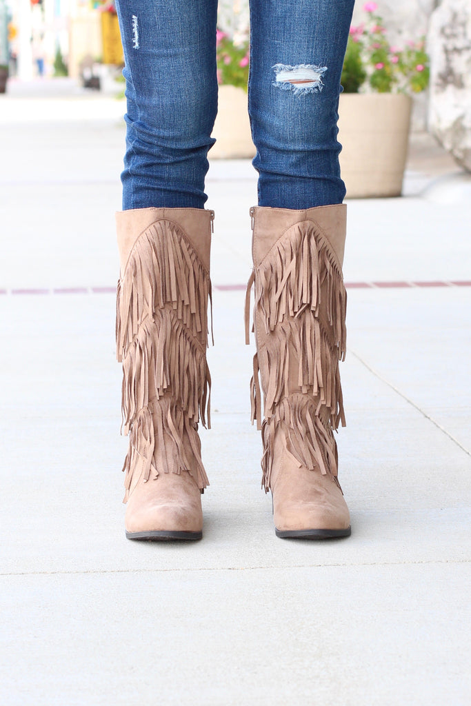 City Girl Layered Fringe Riding Boots {Taupe} - The Fair Lady Boutique - 2
