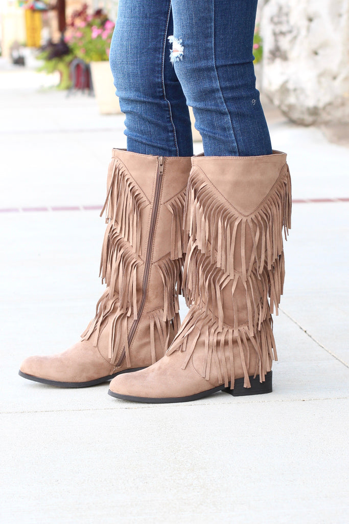 City Girl Layered Fringe Riding Boots {Taupe} - The Fair Lady Boutique - 1