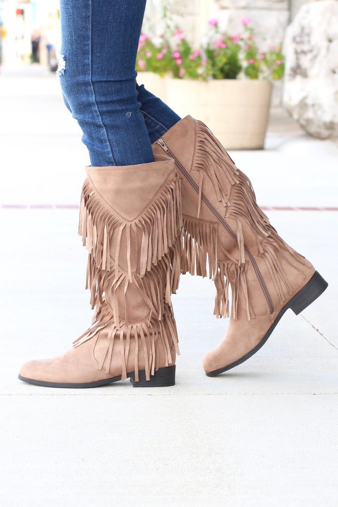 City Girl Layered Fringe Riding Boots {Taupe} - The Fair Lady Boutique - 3