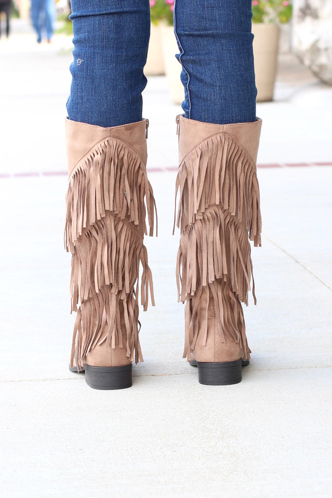 City Girl Layered Fringe Riding Boots {Taupe} - The Fair Lady Boutique - 4