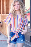 Sophie Multi-Stripe Tie Top {Orange}